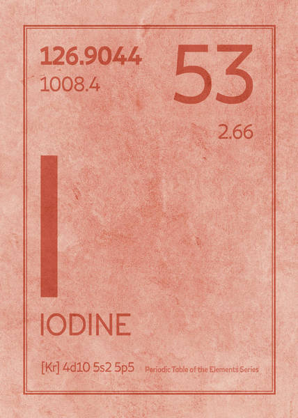 Atomic Number Wall Art - Mixed Media - Iodine Element Symbol Periodic Table Series 053 by Design Turnpike