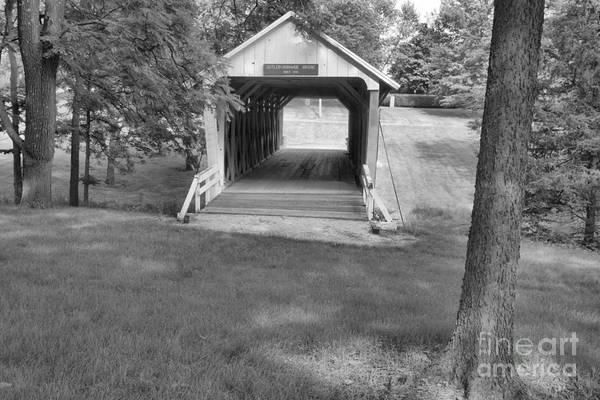 Photograph - Iowa Bridge In The Grass Black And White by Adam Jewell