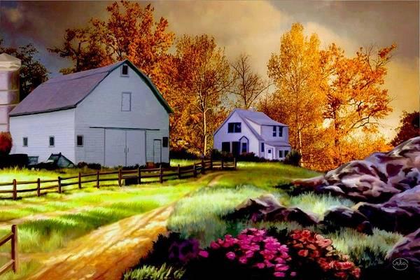 Red Wagon Painting - Iowa Farm by Ron Chambers