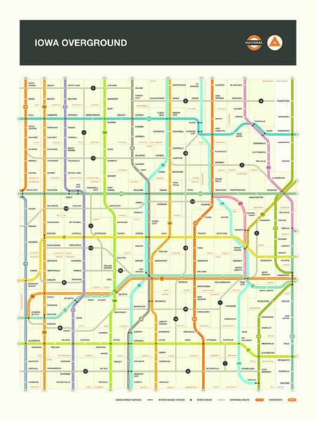 Subway Map Wall Art - Digital Art - Iowa Highway Map by Jazzberry Blue