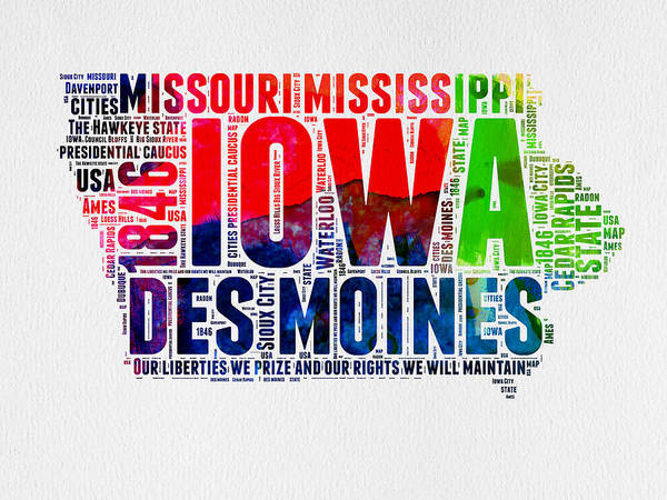 Map Art Mixed Media - Iowa Watercolor Word Cloud  by Naxart Studio