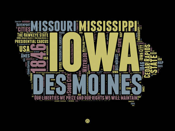 Map Art Mixed Media - Iowa Word Cloud 1 by Naxart Studio