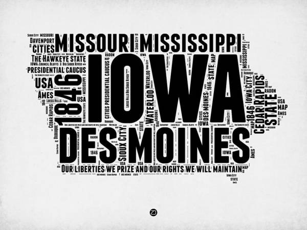 Map Art Mixed Media - Iowa Word Cloud 2 by Naxart Studio