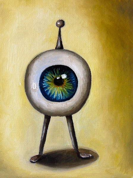 Eyeballs Painting - Ira The Little Alien by Leah Saulnier The Painting Maniac