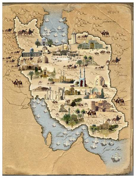 Wall Art - Photograph - Iran, Pictorial Map by Smetek