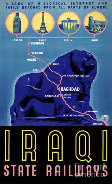 Wall Art - Painting - Iraq Vintage Travel Poster Restored by Vintage Treasure