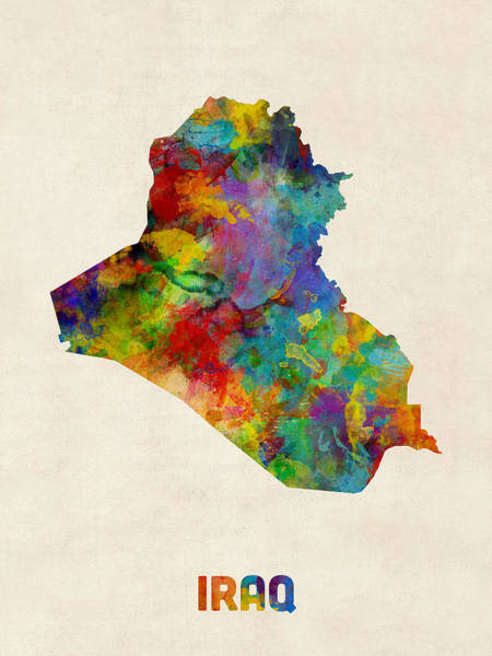 Baghdad Wall Art - Digital Art - Iraq Watercolor Map by Michael Tompsett