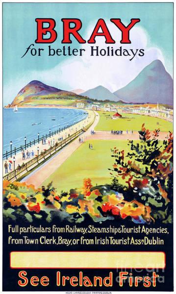 European Vacation Mixed Media - Ireland Bray Vintage Travel Poster Restored by Vintage Treasure