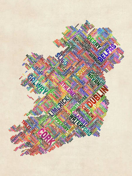 Typographic Wall Art - Digital Art - Ireland Eire City Text Map Derry Version by Michael Tompsett