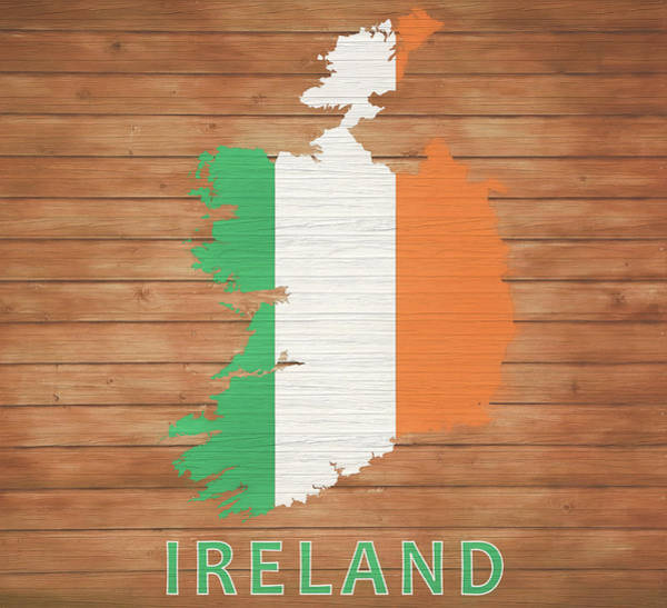 European Vacation Mixed Media - Ireland Rustic Map On Wood by Dan Sproul