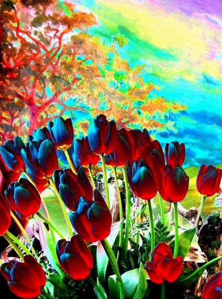 Magnificent Digital Art - Iridescent Red Tulips by Will Borden