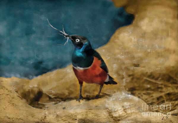 East Africa Digital Art - Iridescent Starling by Sergey Lukashin
