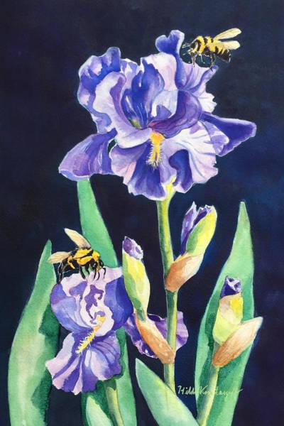 Iris And Bees Art Print