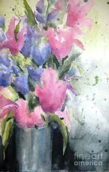 Wall Art - Painting - Iris And Tulips - Fresh And Free by Maria Hunt