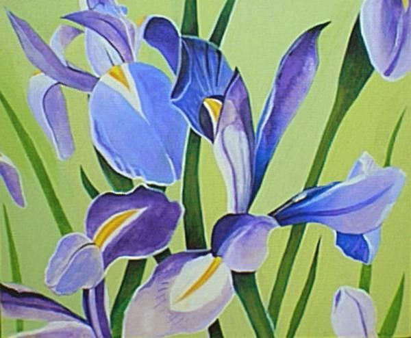 Painting - Iris Fields - Center Panel by Helena Tiainen