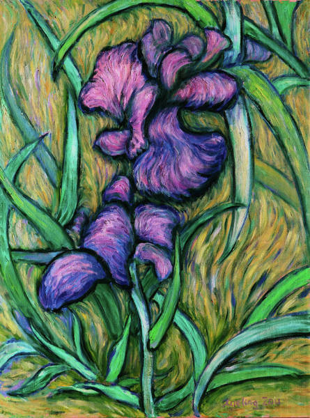 Painting - Iris For Vincent - Contemporary Fauvist Post-impressionist Oil Painting Original Art On Canvas by Xueling Zou
