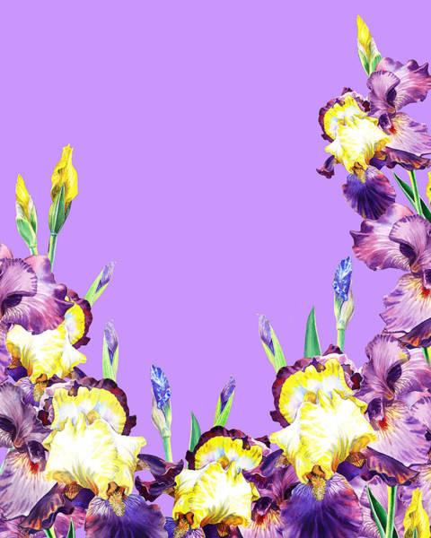 Lilac Painting - Iris Garden Lilac Skies by Irina Sztukowski