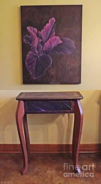 Painting - Iris Painting And Matching Table by Lizi Beard-Ward