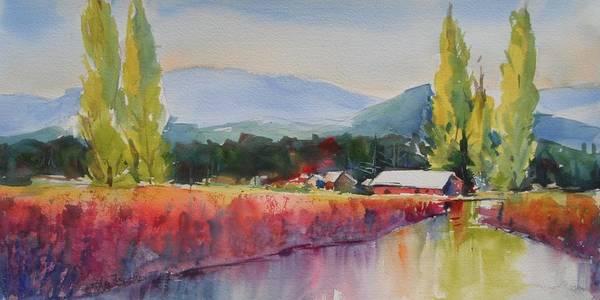 Skagit Valley Painting - Iris Poplars And Little Mountain by Sukey Watson
