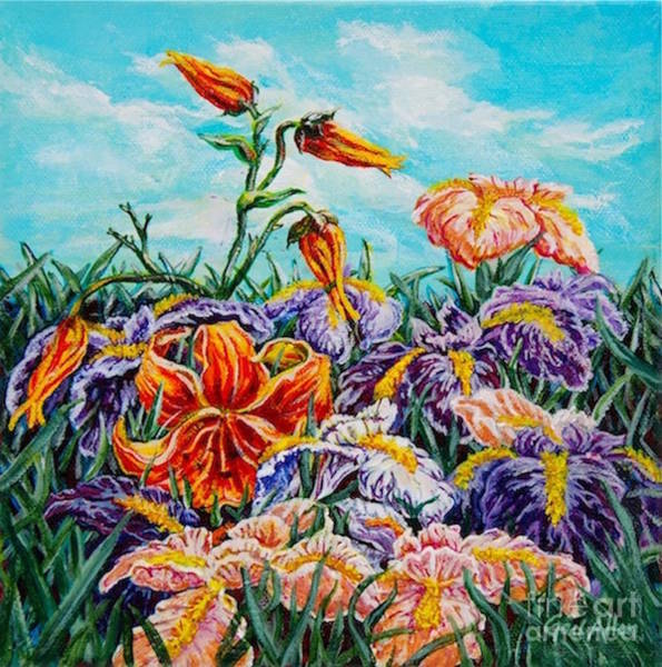 Painting - Iris With Daylily by Gail Allen