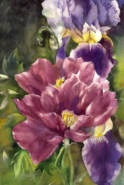 Painting - Iris With Peony by Alfred Ng