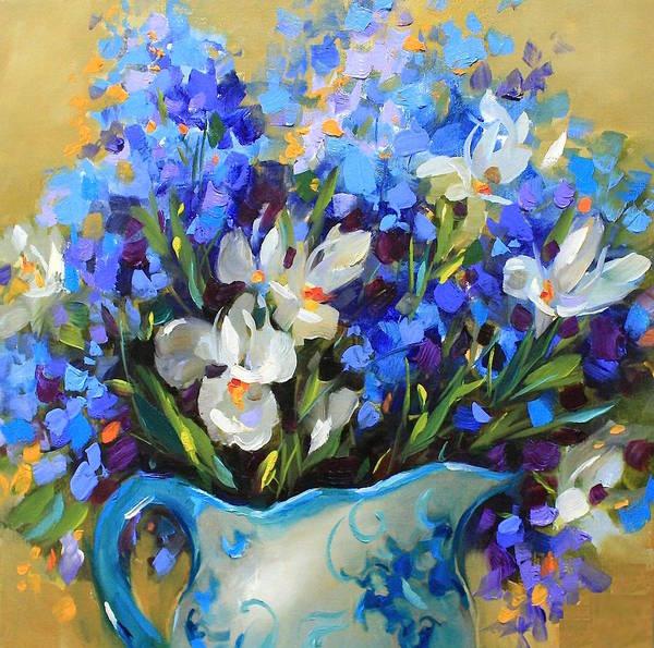 Irises Painting - Irises And Blue Glass by Nancy Medina