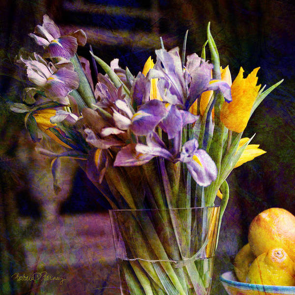Digital Art - Irises In A Glass by Barbara Berney