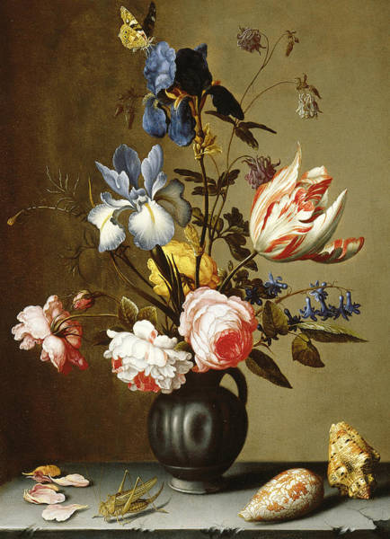 Tulip Bloom Painting - Irises, Roses, Columbine, Hyacinth And A Tulip In A Black Pottery Pitcher by Balthasar van der Ast