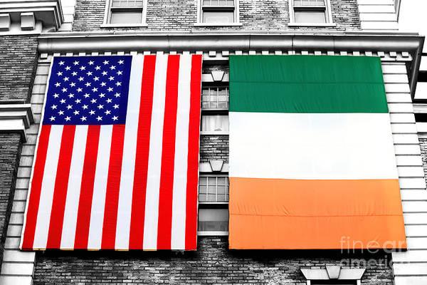 Photograph - Irish American Flags Fusion by John Rizzuto