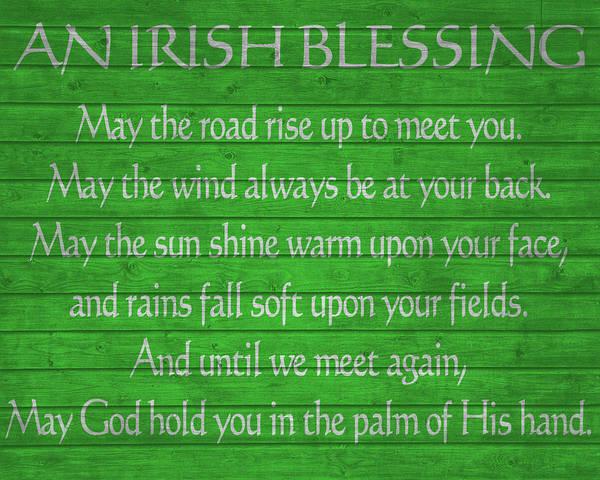Irish Mixed Media - Irish Blessing Green Barn Door by Dan Sproul
