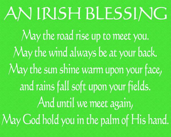 Irish Mixed Media - Irish Blessing Green Canvas by Dan Sproul