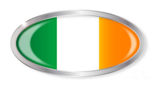 Harp Digital Art - Irish Flag Oval Button by Bigalbaloo Stock