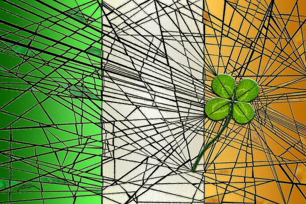 Lucky Clover Painting - Irish Flag With Four-leaf Clover by Douglas Christian Larsen