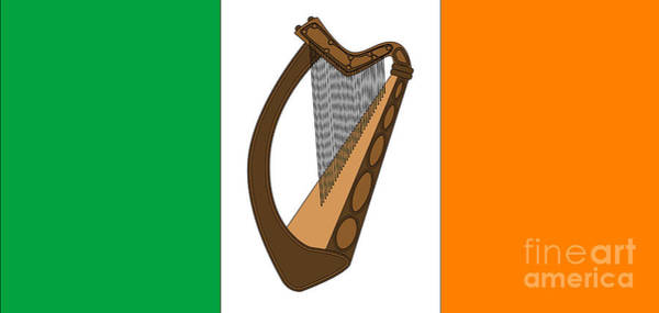 Harp Digital Art - Irish Flag With Harp by Bigalbaloo Stock