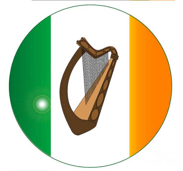 Harp Digital Art - Irish Flag With Harp Button by Bigalbaloo Stock