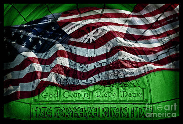 Wall Art - Photograph - Irish Green God Country Notre Dame Red White Blue American Flag by John Stephens