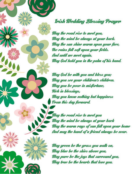 Wall Art - Drawing - Irish Wedding Blessing Prayer by Celestial Images