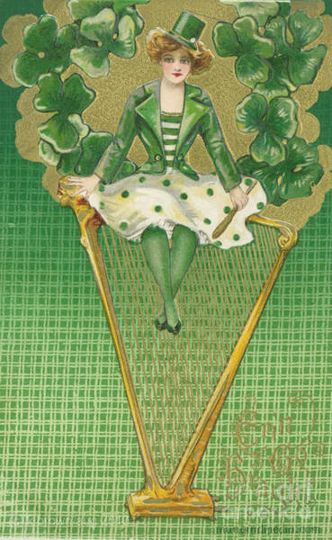 Harp Mixed Media - Irish Woman And Harp  by Artist from the past