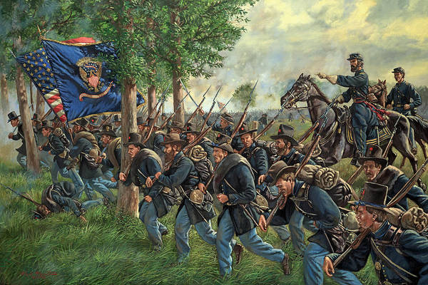 Wall Art - Painting - Iron Brigade Forward - 2nd Wisconsin Infantry Led By General John Reynolds - Battle Of Gettysburg by Mark Maritato