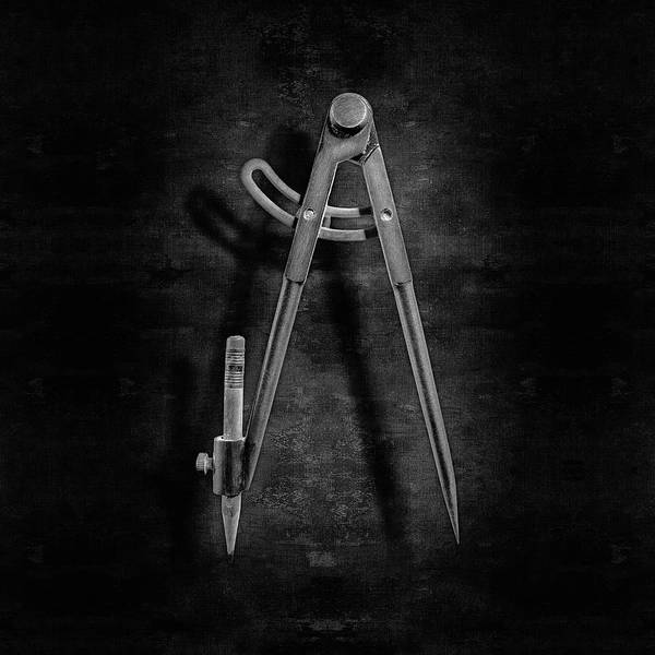 Drafting Photograph - Iron Compass Backside In Bw by YoPedro