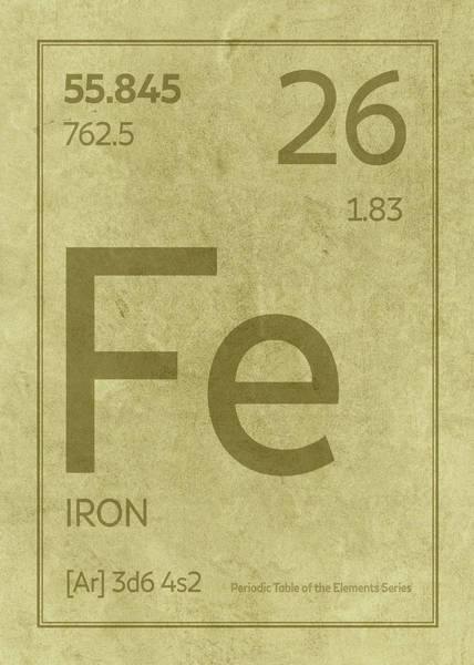 Elements Mixed Media - Iron Element Symbol Periodic Table Series 026 by Design Turnpike