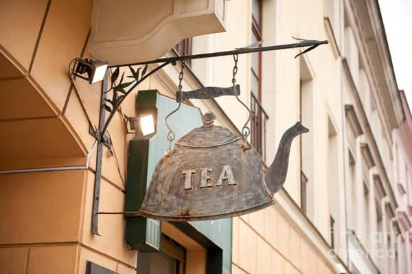 Wall Art - Photograph - Iron Fake Kettle Tea Signboard by Arletta Cwalina