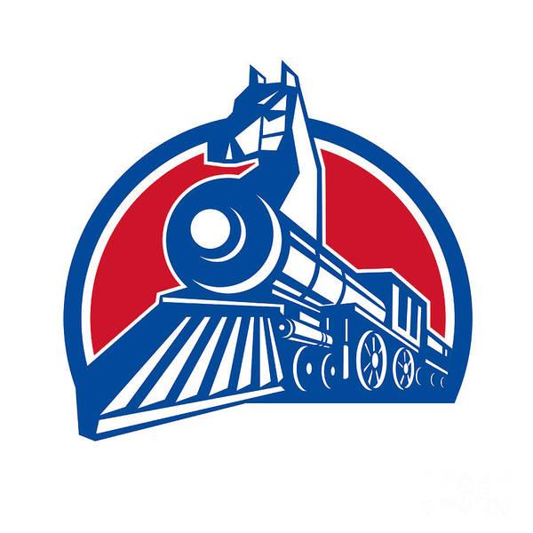 Wall Art - Digital Art - Iron Horse Locomotive Circle Retro by Aloysius Patrimonio