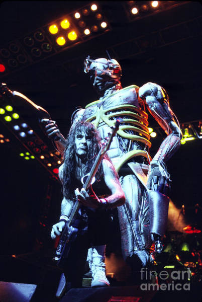 Chris Walter Wall Art - Photograph - Iron Maiden 1987 Steve Harris And Eddie by Chris Walter