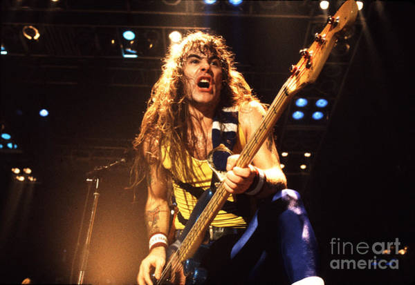 Chris Walter Wall Art - Photograph - Iron Maiden 1987 Steve Harris by Chris Walter