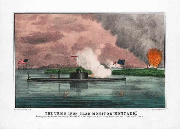 Rivers Mixed Media - Ironclad Monitor Montauk Destroying Rebel Steamship - 1863 by War Is Hell Store