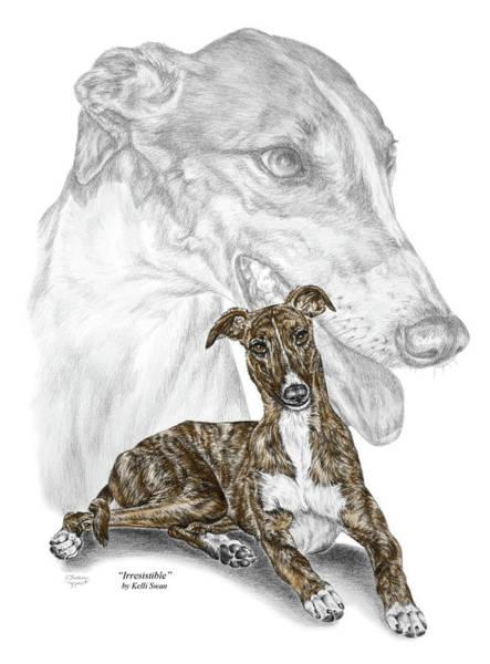 Drawing - Irresistible - Greyhound Dog Print Color Tinted by Kelli Swan