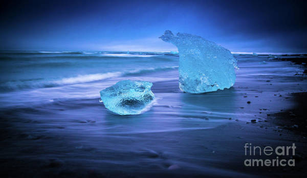 Glacial Photograph - Irridescent Jokulsarlon Blue Ice by Mike Reid