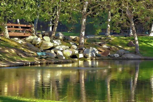 Park Bench Digital Art - Irvine Park Lake Abstract 1 by Linda Brody