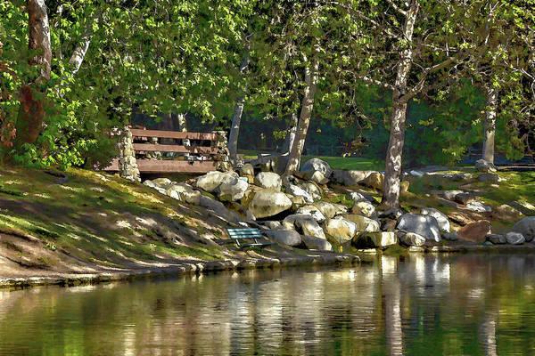 Park Bench Digital Art - Irvine Park Lake Abstract 2 by Linda Brody